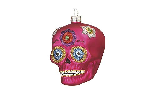 Midwest Vibrant Red Silvertone Sugar Skull 3 inch Resin Decorative Christmas Ornament