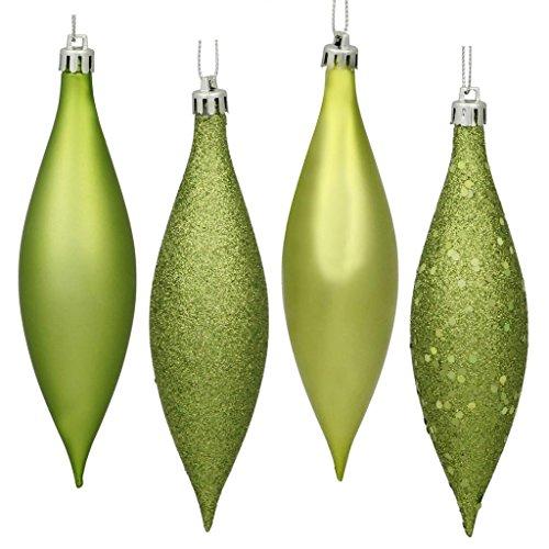 Vickerman 480397 – 5.5″ Lime Finial 4 Assorted Finish Christmas Tree Ornament (Set of 8) (N500173)