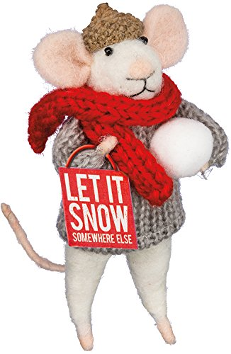 Primitives By Kathy Mouse 4.50 Inches Tall Let It Snow Somewhere Else Box Sign Mouse Home Decor
