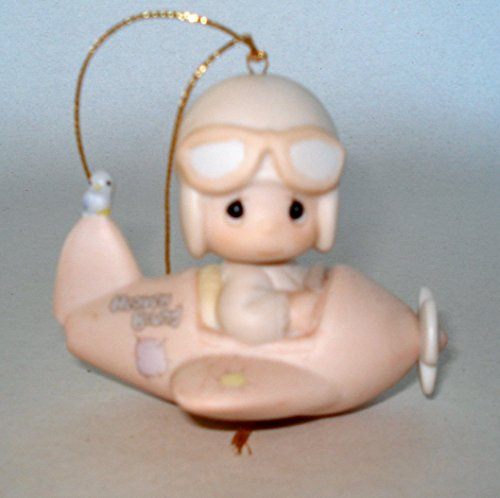 "Precious Moments Retired Boy Pilot Flying an Airplane ""Have a Heavenly Christmas"" Ornament (#12416)"