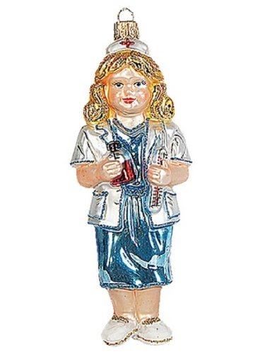 Pinnacle Peak Trading Company Female Nurse Polish Glass Christmas Ornament Made in Poland Nursing Decoration