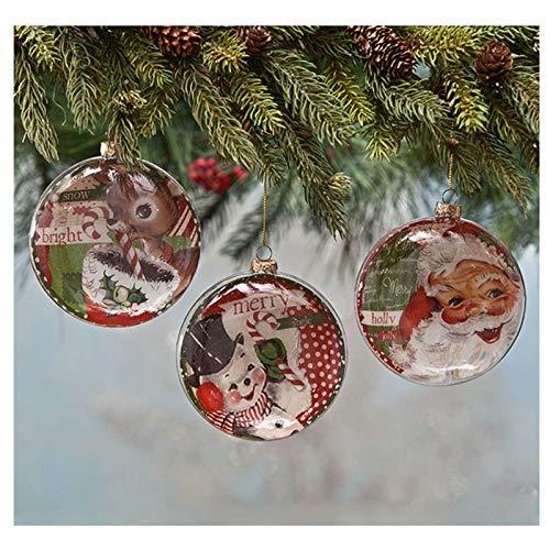 Bethany Lowe Set/3 Retro Glass Santa Deer Tree Discs Christmas Decor Ornaments