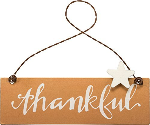 PBK Fall Decor – Small Tin Ornament Sign Thankful #33695