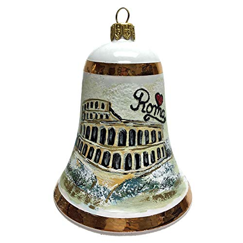 Pinnacle Peak Trading Company I Love Roma Bell Polish Glass Christmas Ornament Rome Italy Travel Colosseum