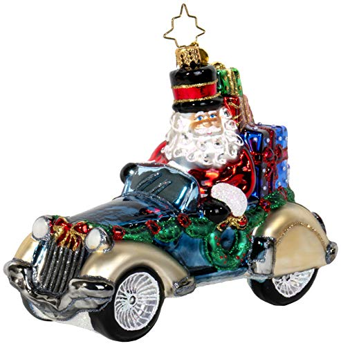 Christopher Radko Retro Roadster Santa Claus Christmas Ornament
