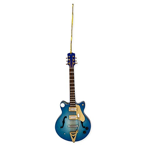 Navy Electric Guitar Music Instrument Replica Christmas Ornament, Size 5 inch
