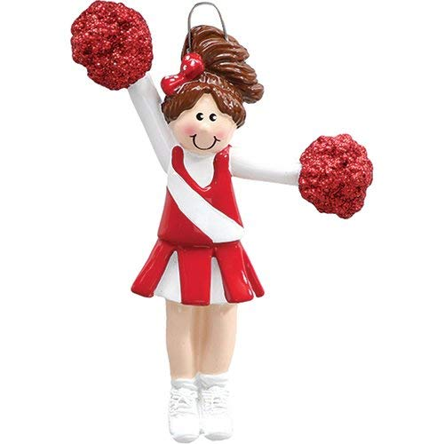 Rudolph and Me Pompom Girl/Cheerleader Red-Brown Personalized Christmas Ornament