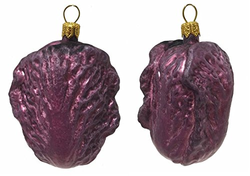 Pinnacle Peak Trading Company Purple Chinese Cabbage Polish Glass Christmas Ornament Vegetable Food Set of 2