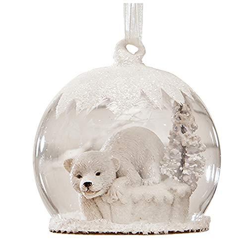 Glitter Polar Bear Snow Globe Christmas Retro Vintage Decor Ornament