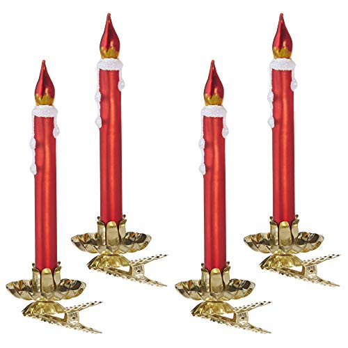 Raz Shiny Red Waxy Bulb Clip Candle 4.5 inch Glass Decorative Holiday Ornament Boxed Set of 4