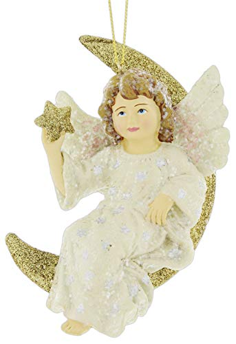 Bethany Lowe Celestial Crescent Moon Angel Ornament