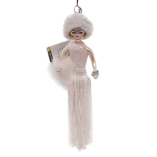 De Carlini Lady in White Fringed Skirt Glass Italian Christmas Ornament Do7583