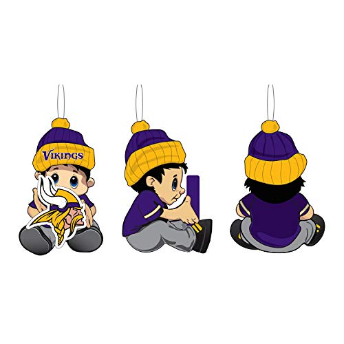 Team Sports America NFL Minnesota Vikings Remarkable Adorable Lil Fan Christmas Ornament – 2″ Long x 2″ Wide x 3″ High