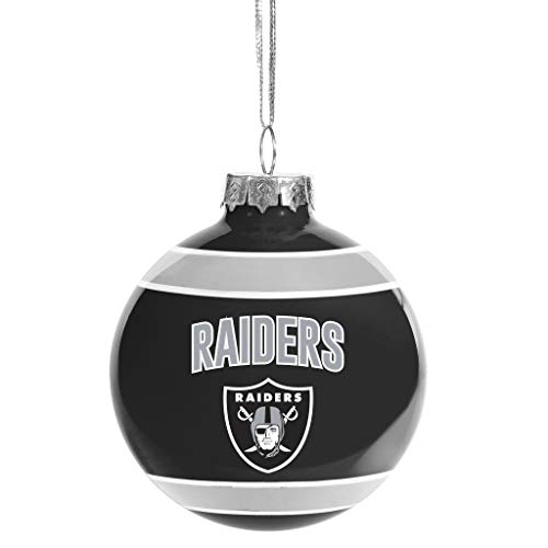 FOCO Oakland Raiders Glass Ball Ornament – Limited Edition Raiders Ornament – Represent The NFL and Show Your Team Spirit with Officially Licensed Oakland Football Holiday Fan Decorations