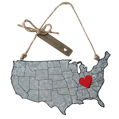 Home is Where The Heart is Galvanized Tin Map Ornament with Magnet