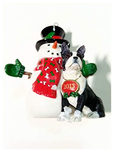 Snowman with Boston Terrier Ornament, Danbury Mint 2013