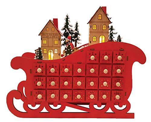 Santa's Workshop Sleigh Calendr Advent Calendar, 18″ Tall, Red/Green/Gold