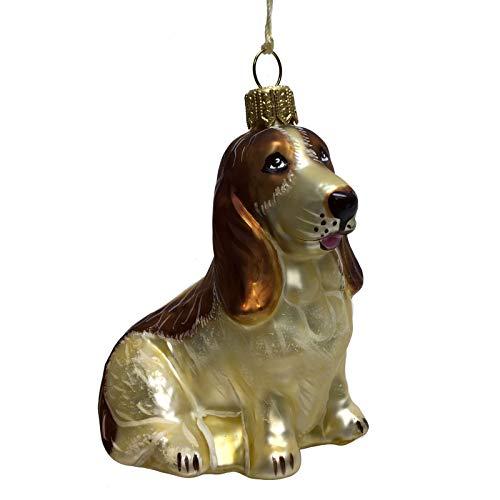 Pinnacle Peak Trading Company Basset House Dog Sitting Polish Glass Christmas Tree Ornament Pet Decoration