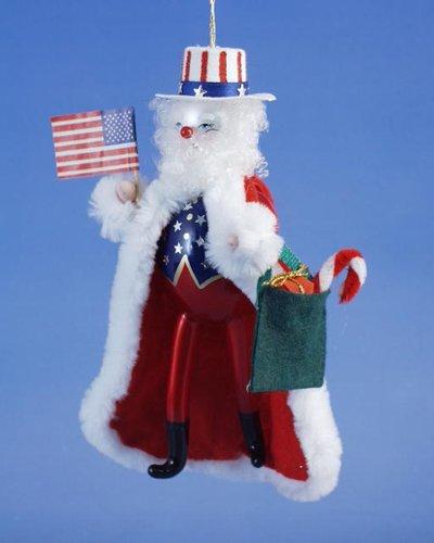 De Carlini Usa Santa Italian Mouthblown Glass Christmas Ornament