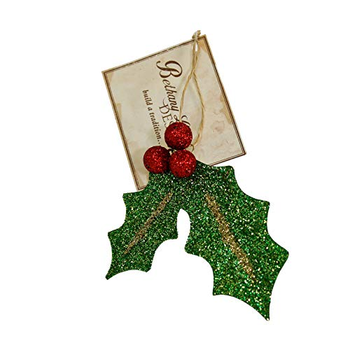 Bethany Lowe Red Holly Leaf Glitter Tree Ornament Holiday Christmas Decor Gift