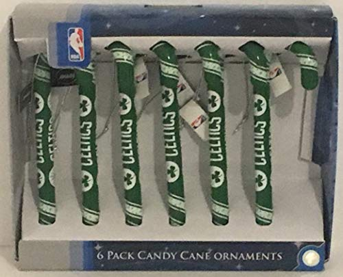 LHV Fun Set of 6 Plastic Celtics Candy Cane Ornaments About 51/2 inches Tall