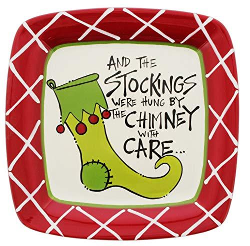 Magnolia Lane Festive Holiday Stockings Plate Ceramic 10.75″