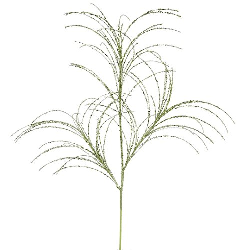Vickerman QG164013 Glitter Grass Spray x 3 with Paper wrapped wire stem in 6/Bag, 34″, Lime