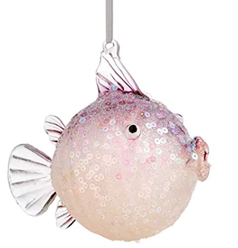 Holiday Lane Seaside Purple Blow Puffer Fish Ornament
