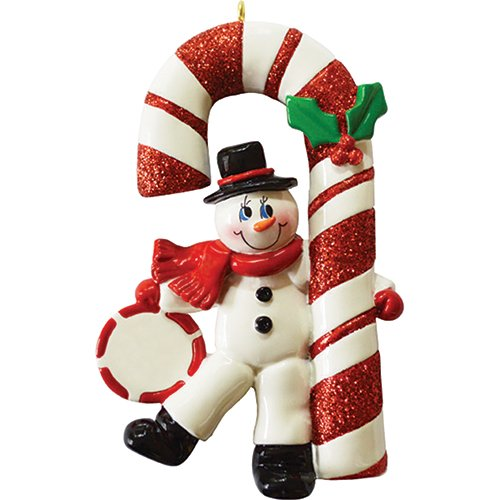 Personalized Candy Cane Snowman Christmas Tree Ornament 2019 – Happy Playful Figure Dancing Ball Peppermint Berry Glitter Holiday Baby Tradition Grand-Kid Daughter Love Gift – Free Customization