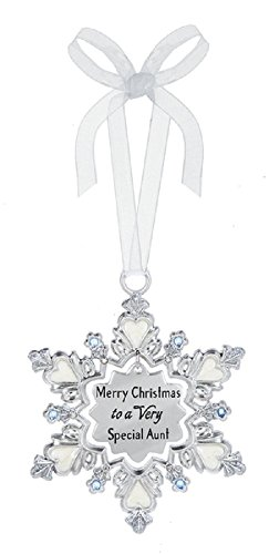 Ganz Merry Christmas to a Very Special Aunt Zinc Decorative Hanging Ornament, Silver, 25/8″ W. x 33/8″ H.