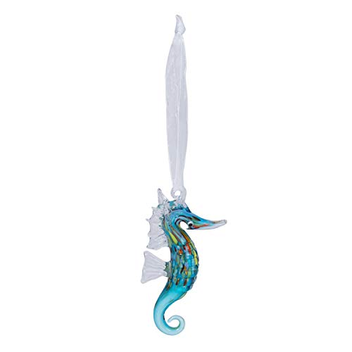 Beachcombers Coastal Life Decorative Ocean Ornament with S-Hook (Blue Seahorse, 04034)