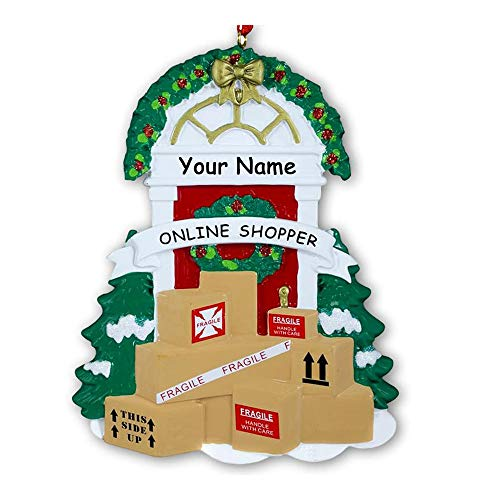 Personalized Online Shopper Hanging Christmas Display Ornament Home Front Door with Delivered Packages and Holiday Decorations with Custom Name