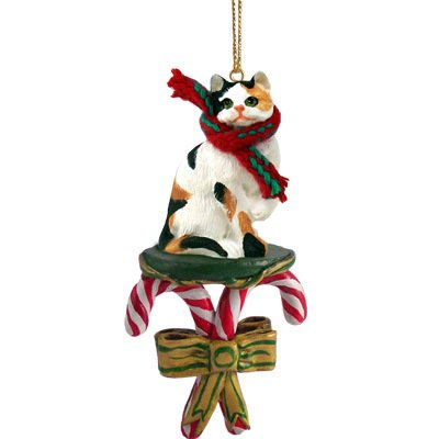 Conversation Concepts Calico Shorthaired Candy Cane Ornament