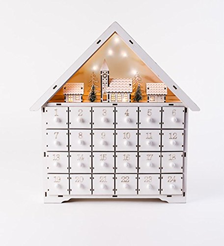 Christmas Wood White Alpine House Lighted Scene Advent Calender w/Drawers