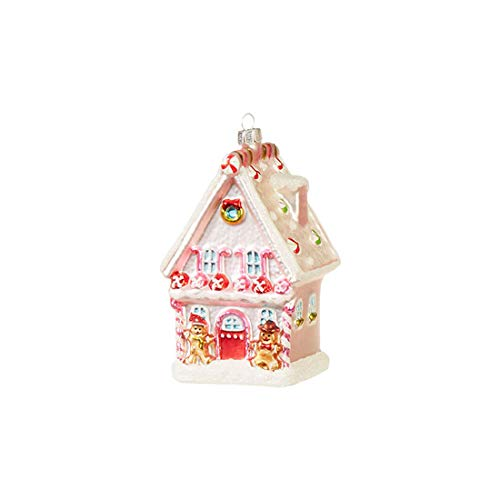 Candy House Rosy Red 5 x 3 Glass Christmas Decorative Hanging Ornament