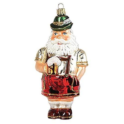 Pinnacle Peak Trading Company Bavarian Oktoberfest Santa Polish Blown Glass Christmas Ornament Decoration
