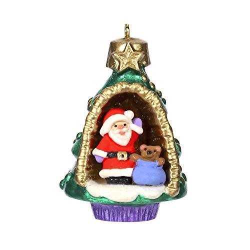 Hallmark Keepsake Mini Christmas Ornament 2019 Year Dated A World Within, Santa and Teddy Bear in Tree Miniature, 1.56″