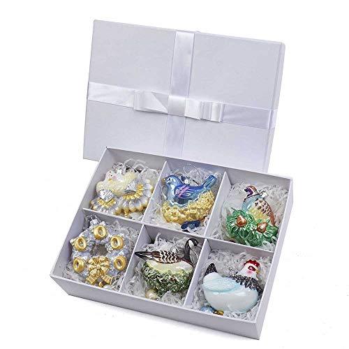 Kurt S. Adler 3.5″ – 7.5″ Noble Gems 1st Six Days of Christmas Glass Ornament Set (Set of 6), 6 Piece