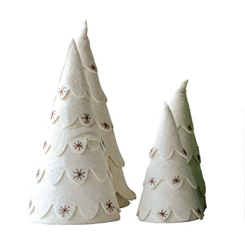 Creative Co-Op Cream Felt Tree, Set of 2