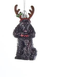 Noble Gems POODLE WITH ANTLERS BLACK Ornament