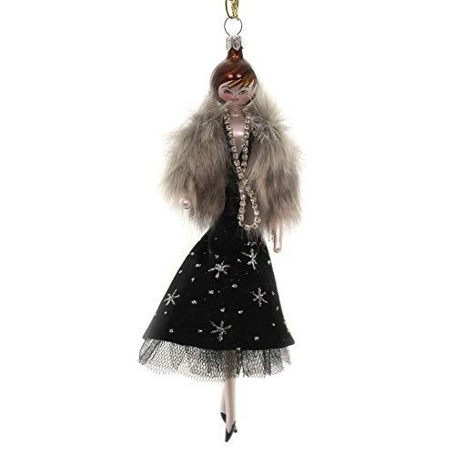 De Carlini Lady with Black Velvet Skirt. Glass Italian Christmas Do7616