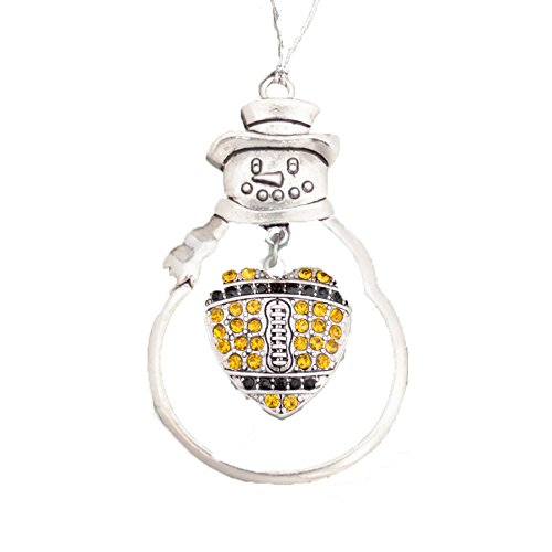 New Orleans Saints Inspired Black & Gold Crystal Rhinestone Football Charm Ornament.Show Your Pride!
