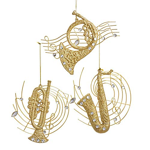 Kurt Adler Gold Glitter Musical Instrument Saxophone Trumpet and French Horn Ornaments 3 Assorted