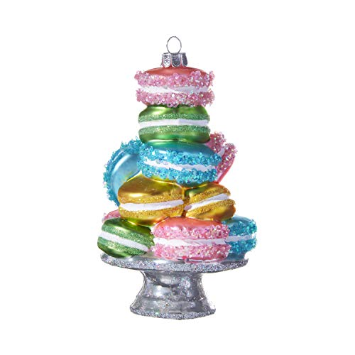 RAZ Imports Glass Stacked Macarons Ornament, 5.25-Inches