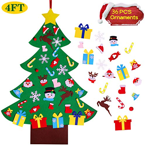 4FT DIY Felt Christmas Tree Set with 36pcs Ornaments – Wall Hanging Felt Xmas Tree for Kids Toddlers Christmas New Year Gift Decorations Party Supplier
