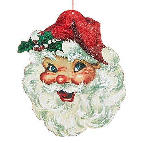 Raz 13.5″ Large Wooden Santa Face Christmas Ornament 3916395