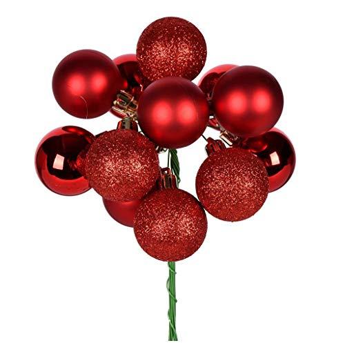 Vickerman 591703-12″ Red Ball Christmas Tree Ornament Pick (4 pack) (N192503)