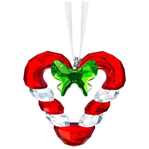 SWAROVSKI Candy Cane Heart Ornament, Crystal/Light siam/Fern Green
