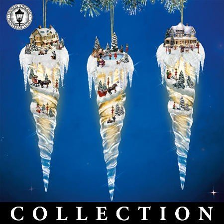 Set of 3 Thomas Kinkade Icicle Village Christmas Ornaments