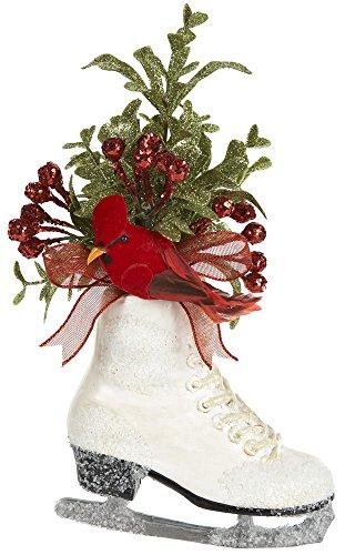 Ganz 7″ Plastic Ice Skate and Mistletoe Ornament with Cardinal